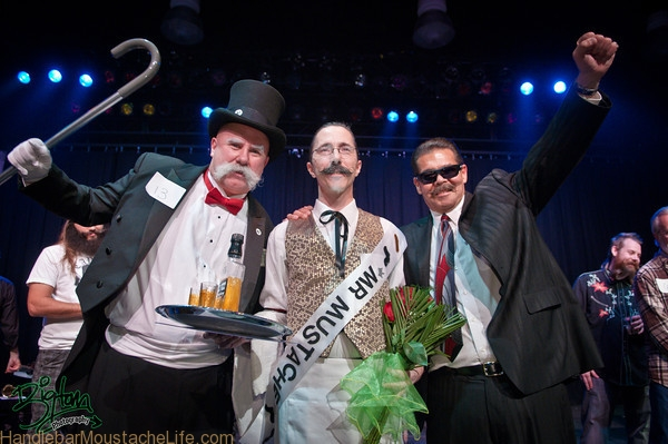 Eric Tischler winning the mustachio bashio mustache contest and the Silverton Casino 2011